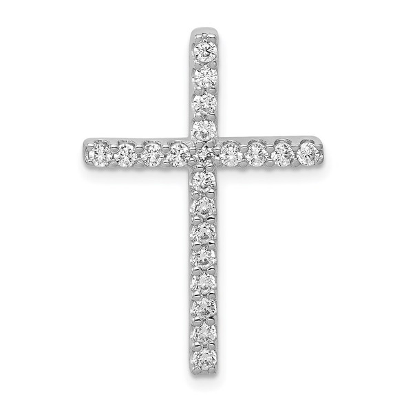 14k White Gold Lab Grown Diamond Si1/Si2 Ghi Cross Pendant Pm4979