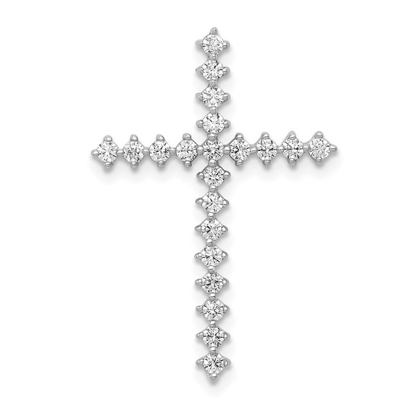 14k White Gold Lab Grown Diamond Si1/Si2 Ghi Cross Pendant Pm4978