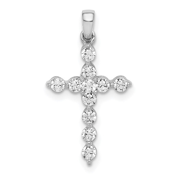 14k White Gold Lab Grown Diamond Si1/Si2 Ghi Cross Pendant Pm4968