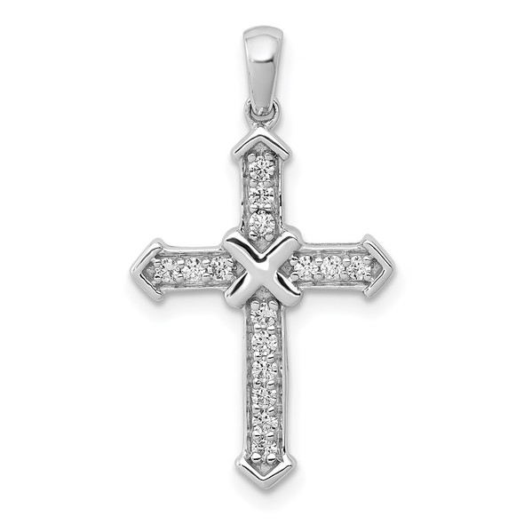 14k White Gold Lab Grown Diamond Si1/Si2, G H I, Passion Cross Pendant