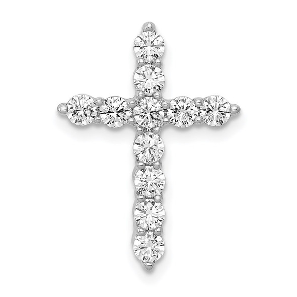 14k White Gold Lab Grown Diamond Si1/Si2, G H I, Chain Slide Pendant
