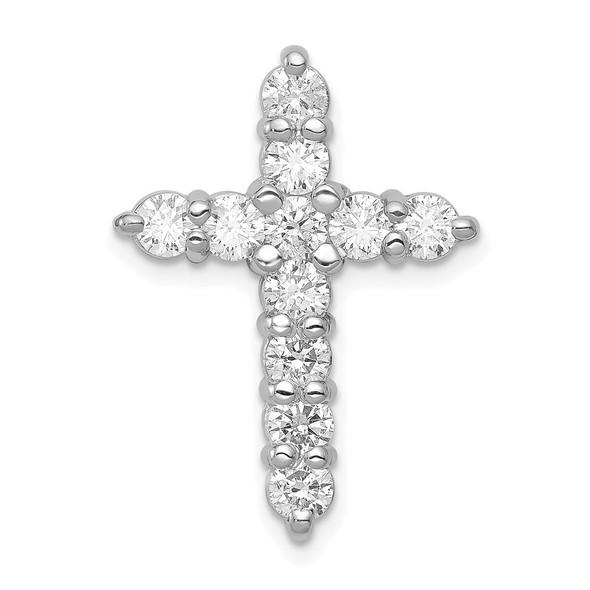 14k White Gold Lab Grown Diamond Si1/Si2 Ghi Cross Pendant Pm4953