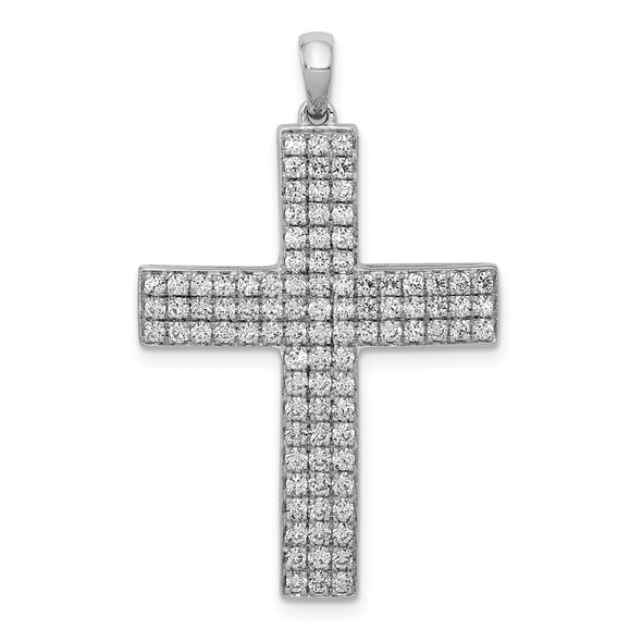 14k White Gold Lab Grown Diamond Si1/Si2, G H I, Latin Cross Pendant