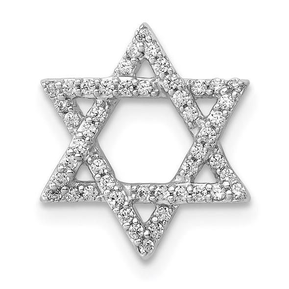 14k White Gold 1/5ctw Diamond Star of David Slide