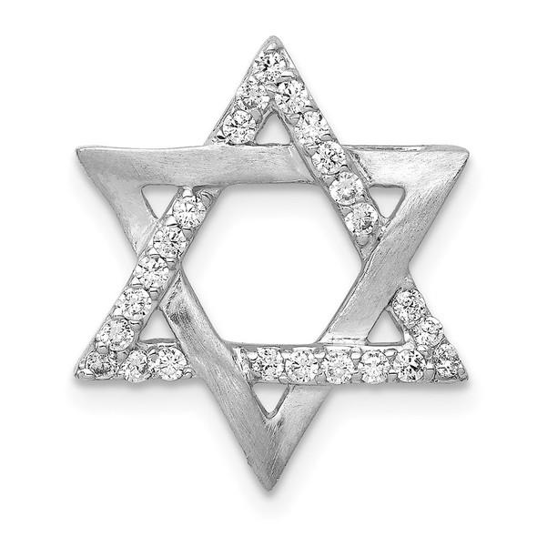 14k White Gold 1/4ctw Diamond Star of David Slide
