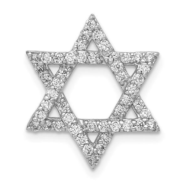 14k White Gold 1/2ctw Diamond Star of David Slide