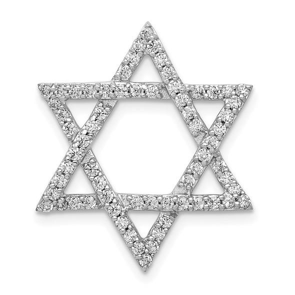 14k White Gold 5/8ctw Diamond Star of David Slide