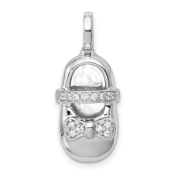 14K White Gold Diamond Baby Girl Shoe Pendant
