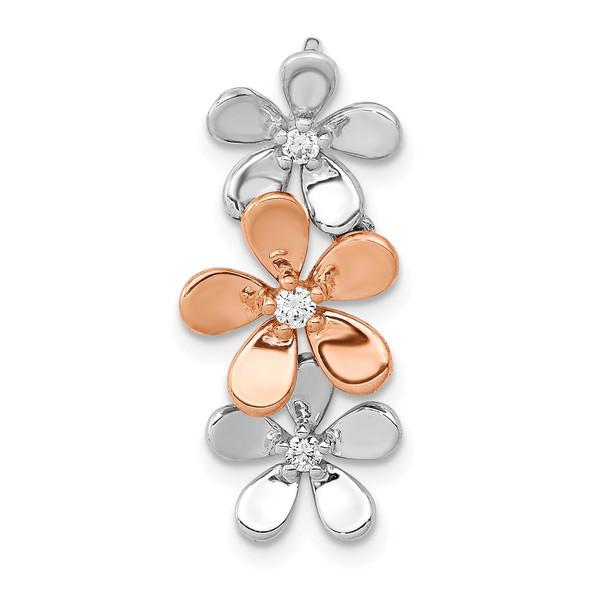 14k Rose and White Gold 1/10ctw Diamond Three Flower Slide Pendant