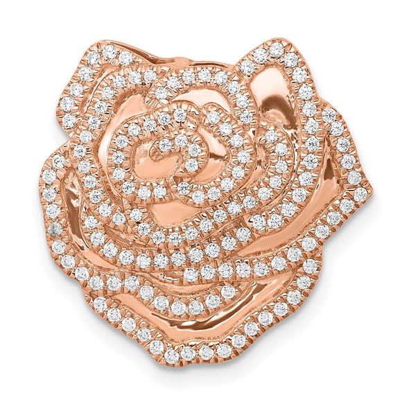 14k Rose Gold 1/2ctw Diamond Fancy Flower Slide