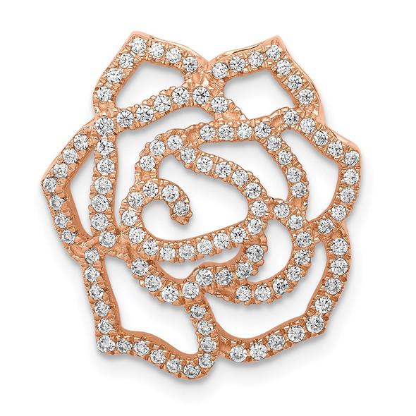 14k Rose Gold Diamond Fancy Flower Slide
