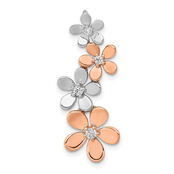 14k Rose and White Gold 1/8ctw Diamond Four Flower Slide Pendant