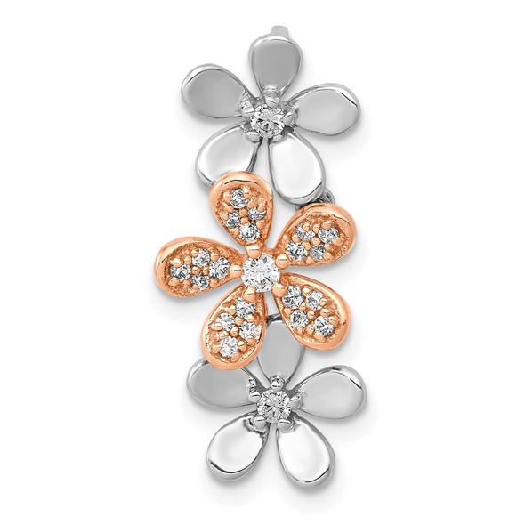 14k Rose and White Gold 1/5ctw Diamond Three Flower Slide Pendant