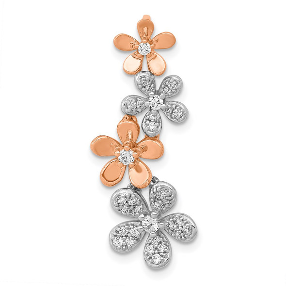 14k Rose and White Gold Diamond Four Flower Slide Pendant