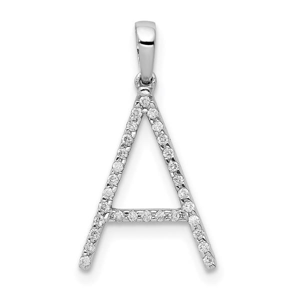 14k White Gold Diamond Initial A Pendant