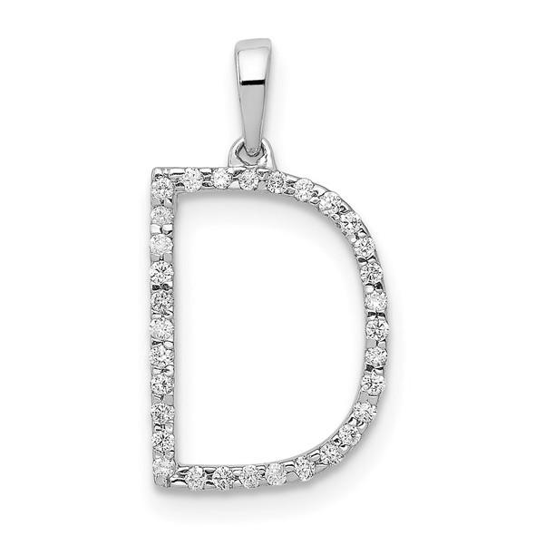 14k White Gold Diamond Initial D Pendant
