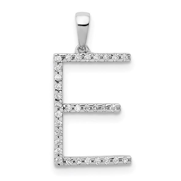 14k White Gold Diamond Initial E Pendant
