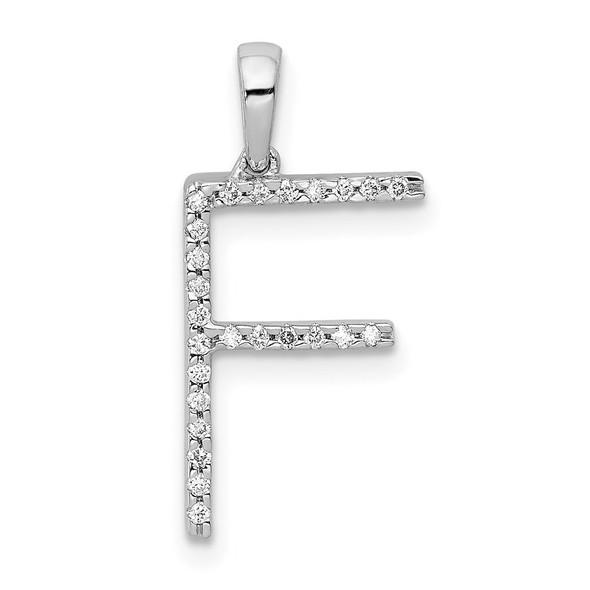 14k White Gold Diamond Initial F Pendant