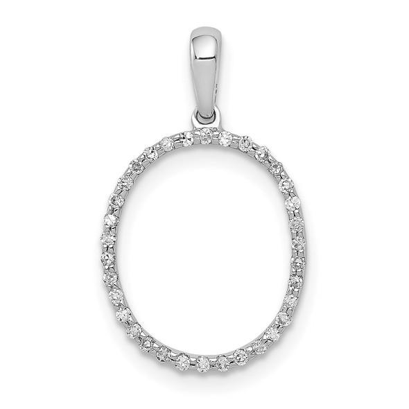 14k White Gold Diamond Initial O Pendant