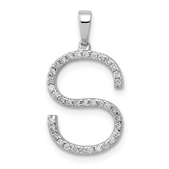 14K White Gold Diamond Initial S Pendant
