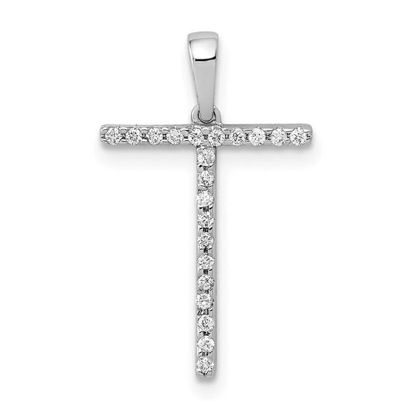 14k White Gold Diamond Initial T Pendant