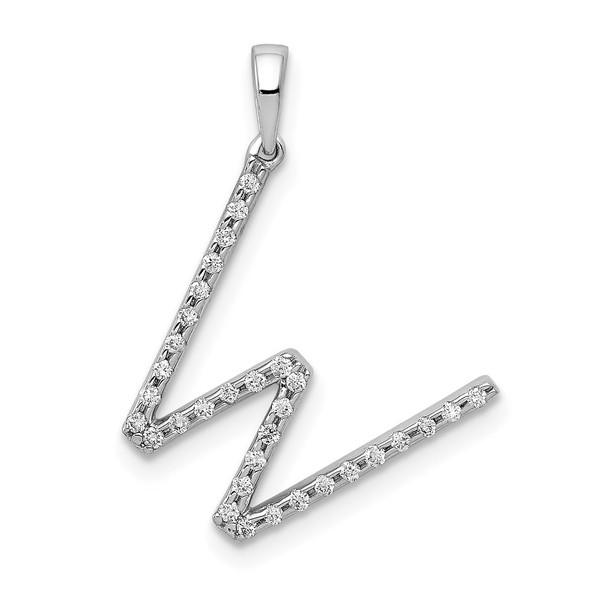 14k White Gold Diamond Initial W Pendant