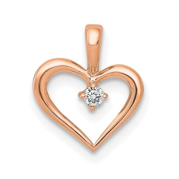 14k Rose Gold 0.02ctw Diamond Heart Pendant