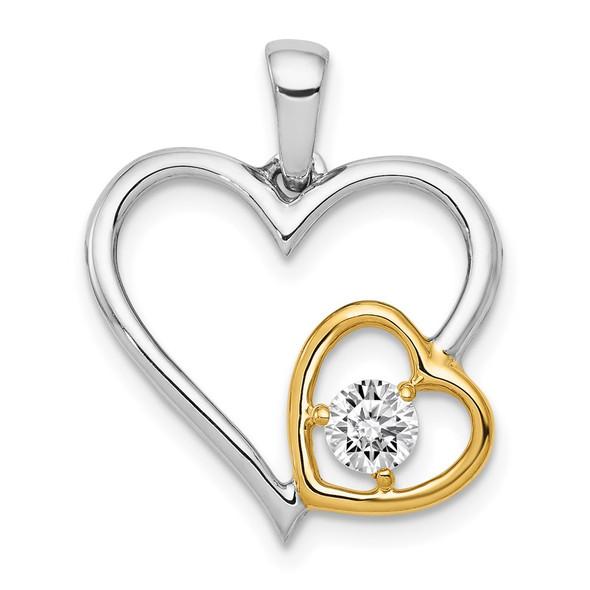 14k Two-Tone Gold 1/5ctw Diamond Double Heart Pendant