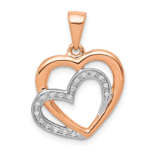 14k Rose Gold w/Rhodium Diamond Entwined Hearts Pendant
