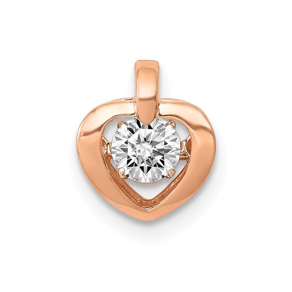14k Rose Gold 1/4ctw Diamond Heart Pendant