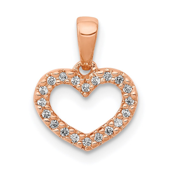 14k Rose Gold 0.03ctw Diamond Heart Pendant