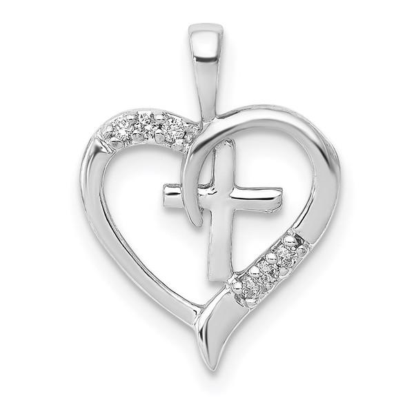 14k White Gold Diamond Heart and Cross Pendant