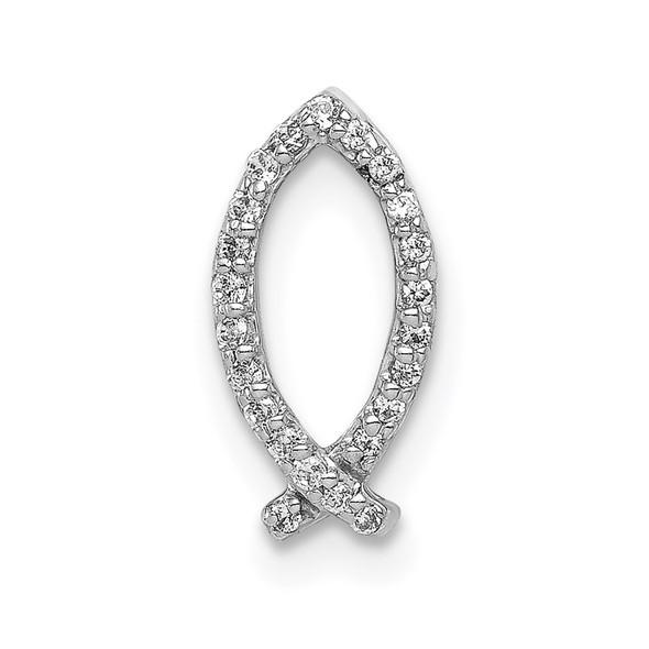 14k White Gold 1/15ctw Diamond Ichthus Slide