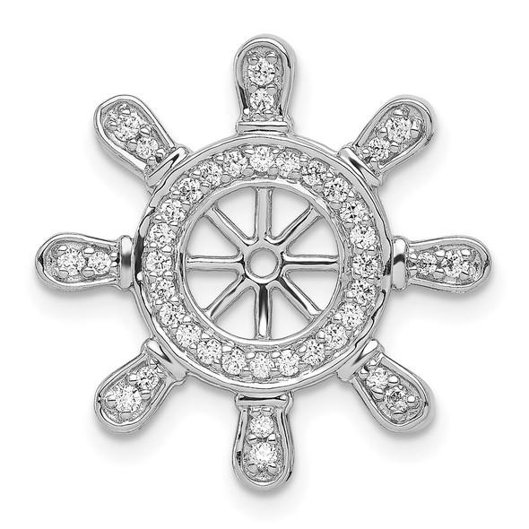14k White Gold 1/4ctw Diamond Ship Wheel Pendant