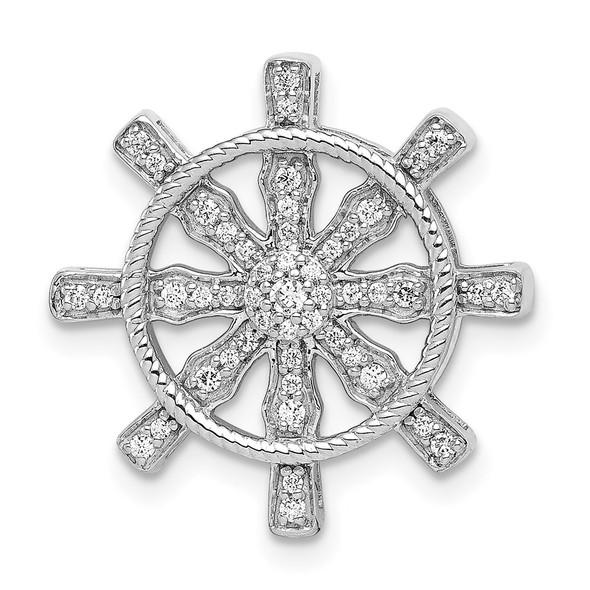 14k White Gold 1/5ctw Diamond Ship Wheel Pendant