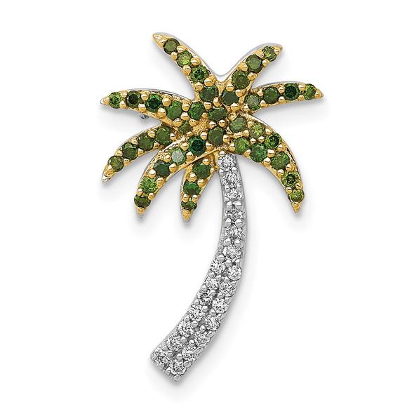 14k White Gold w/ White and Green Diamond Palm Tree Slide Pendant
