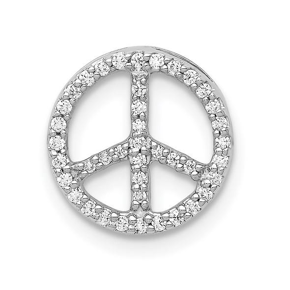14k White Gold Diamond Peace Sign Slide