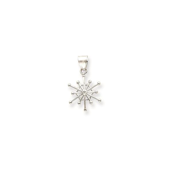 14k White Gold .01ctw Diamond Snowflake Pendant