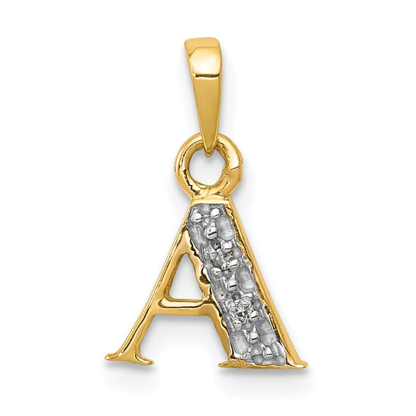 14k Yellow Gold And Rhodium Polished .01ctw Diamond Initial A Pendant