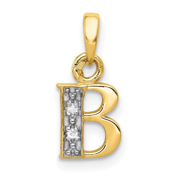 14k Yellow Gold And Rhodium Polished .01ctw Diamond Initial B Pendant
