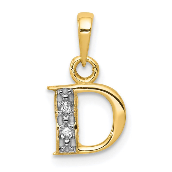 14k Yellow Gold And Rhodium Polished .01ctw Diamond Initial D Pendant