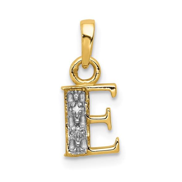 14k Yellow Gold and Rhodium Polished .01ctw Diamond Initial E Pendant