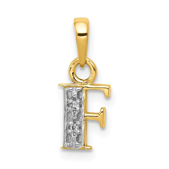 14k Yellow Gold and Rhodium Polished .01ctw Diamond Initial F Pendant