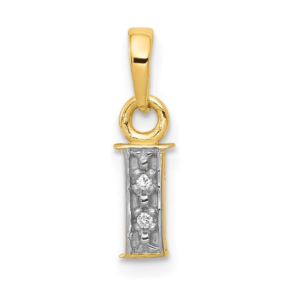 14k Yellow Gold and Rhodium Polished .01ctw Diamond Initial I Pendant