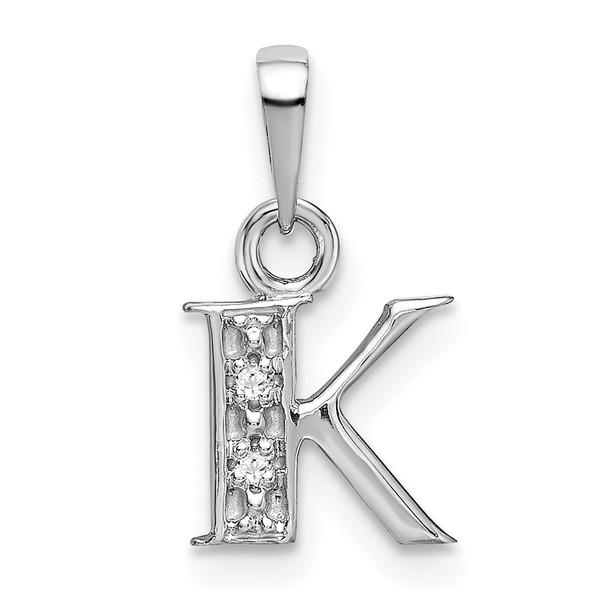 14k White Gold Polished .01ctw Diamond Initial K Pendant