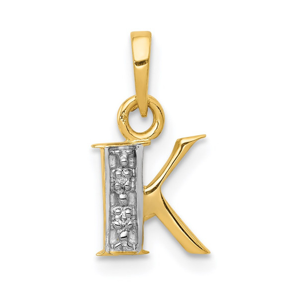 14k Yellow Gold and Rhodium Polished .01ctw Diamond Initial K Pendant