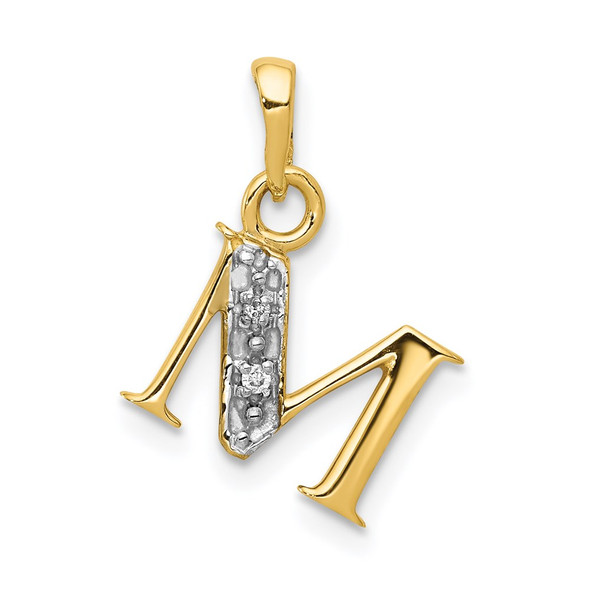 14k Yellow Gold and Rhodium Polished .01ctw Diamond Initial M Pendant