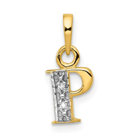 14k Yellow Gold and Rhodium Polished .01ctw Diamond Initial P Pendant
