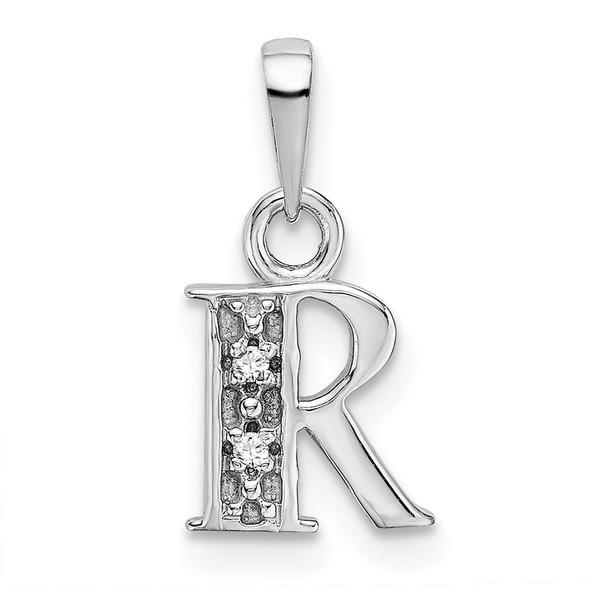 14k White Gold Polished .01ctw Diamond Initial R Pendant