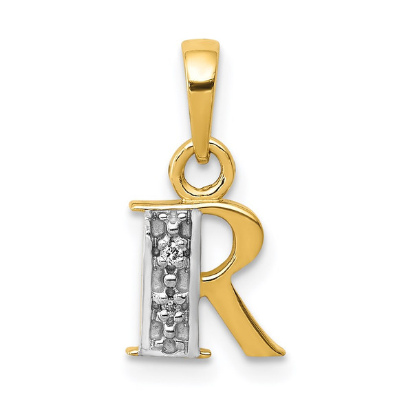 14k Yellow Gold and Rhodium Polished .01ctw Diamond Initial R Pendant
